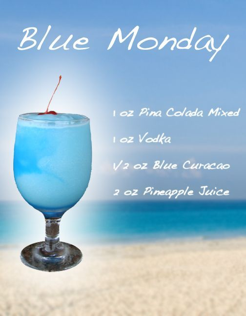 Blue Monday. adult drinks for the frozen party