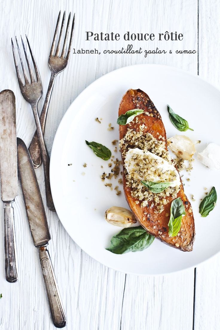 roasted sweet potato with greek yogurt, crispy zaatar & sumac