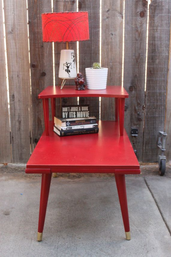 Reserved For Armando Vintage Mid Century Modern Two Tier Side TAble