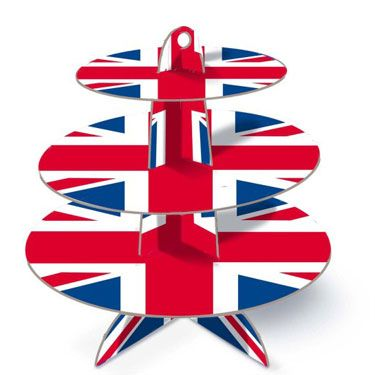 3 tier great british union jack cupcake stand britain patriotic, on special offer