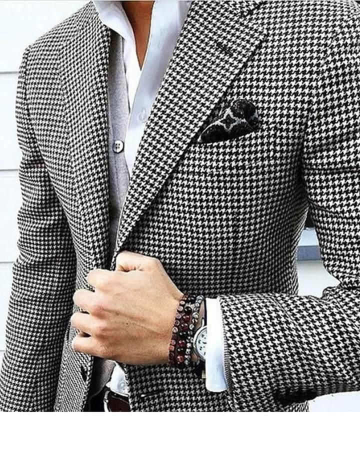 1dfe570f6ac2e1 Houndstooth Custom Made Mens Checkered Suit Dress 2019 Tailored black Weave  Hounds Tooth Check wedding men suits 2 Pieces ( jacket+pants)