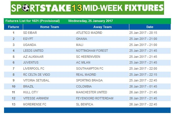 #SportStake13 Midweek Fixtures - 25 January 2017