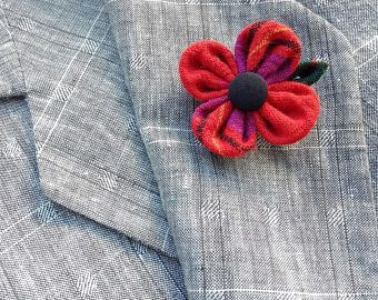 Custom Lapel Pins Mens Lapel Pin Flower Lapel Pin Red Poppy Lapel Veterans Day Remembrance Kanzashi Brooch Plaid Boutonniere Gift For Him
