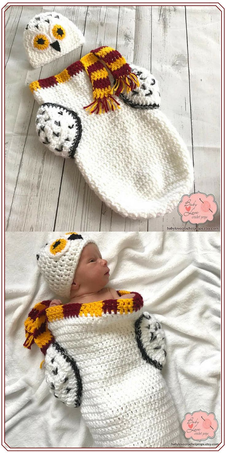 I love this this Hedwig Harry Potter inspired outfit! Hedwig Harry Potter Owl Inspired Infant Newborn Baby Outfit Beanie Hat Cocoon Sack Bundle Crochet Photography Photo Prop - NNT #affiliate #cocoon #harrypotterfan #harrypotter #hedwig #owl #crocheting #newbornphotography #newborn #newbornbaby