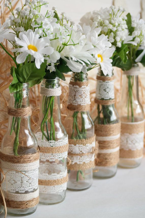 Rustic Burlap Centerpiece Bottle Vases, Wedding or Party Decor, SET of 5
