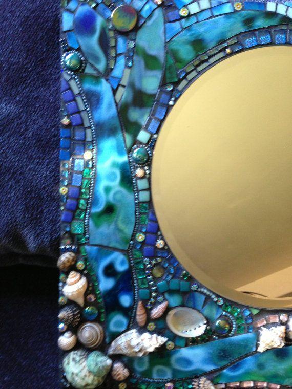 Mosaic Art Mirror Ocean by Moonjewelsandmosaics on Etsy, $298.00
