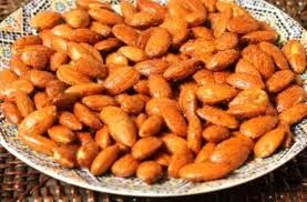 SPICY ALMONDS. 1 cup almonds, 1 tsp. sesame seeds, 1 tsp ground cumin, 1 tsp. coriander seed, 1 egg white. Heat oven to 350 F, beat egg white until frothy, add rest of ingredients and stir, spread on baking tray lined with baking paper, bake 10 min. Enjoy