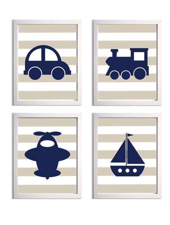 Transportation Nursery Art Stripes Navy Beige Car Boat Plane Train more colors available set of 4