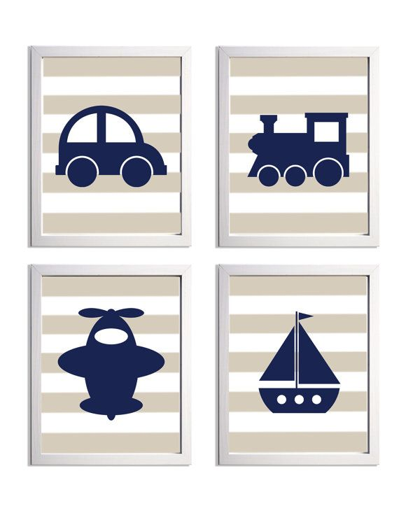 Transportation Nursery Art Stripes Navy Beige Car Boat Plane Train more colors available set of 4