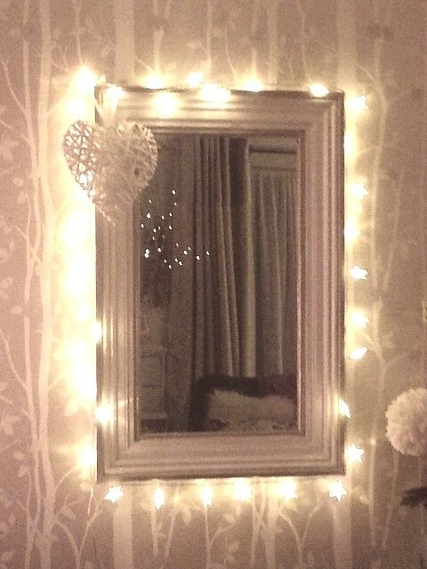 String Lights Around Mirror : 221 best images about Shine bright on Pinterest String lights, Lanterns and Lamps