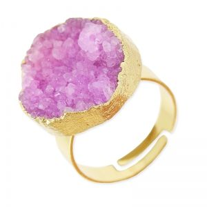 Bague Druzy Agate réglable ronde 20 mm doré/Light Purple x1