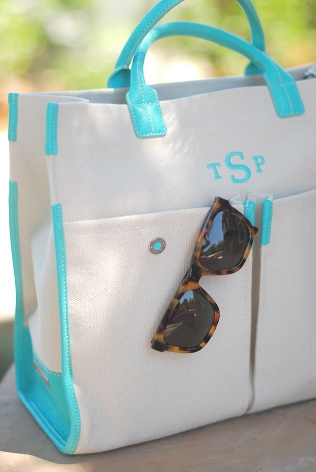 A monogram tote for summer - follow us on www.birdaria.com like it love it share it click it pin it!!!