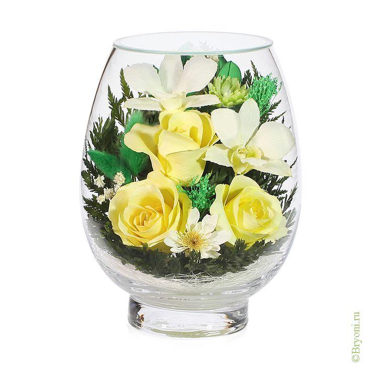Композиция из роз и орхидей (арт. VSMc) купить в Москве | Магазин подарков Bryoni.ru