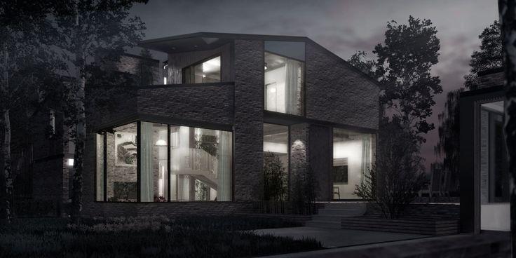 Weatherhead Architecture, Interior Design, Courtyard House, Scandinavian, Light, Visualisation, Brick, Birch, Polished Concrete, Night Light, http://weatherheadarchitecture.com/