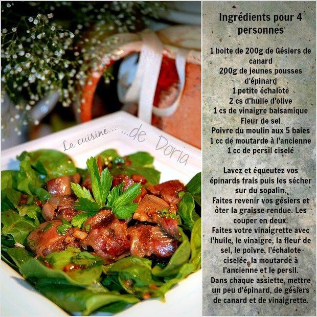 Salade de Gésiers confits de canard et de jeunes pousses d'épinards