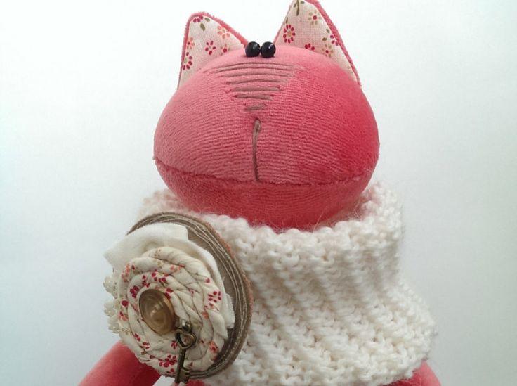 Игрушка мягкая Кошка. Весна. Коралловая. by KotOmkaRU on Etsy