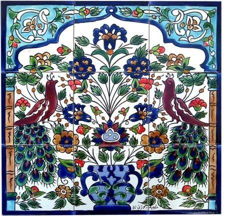 Mosaic 39 antique looking art peacock 39 6 tile ceramic wall for Ceramic mural tiles