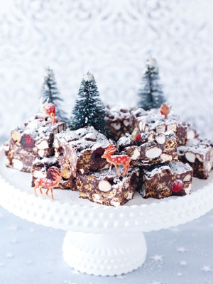 Christmas Rocky Road (nigella lawson) ***I make this every year......it's so easy and extremely popular! :)   Go to Hobby Lobby or your local crafts store to buy some miniature trees and reindeer.....it TRULY makes a difference in the presentation......