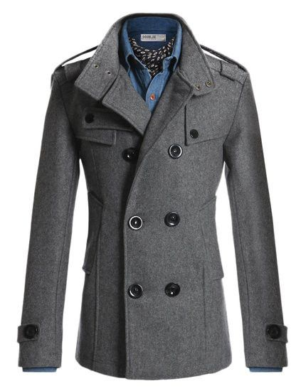 Men's Gray Trench, designed in the USA Materials: 50% Polyester / 50% Wool Button-End closure Dry clean only Basic classic peacot with double breast front and e