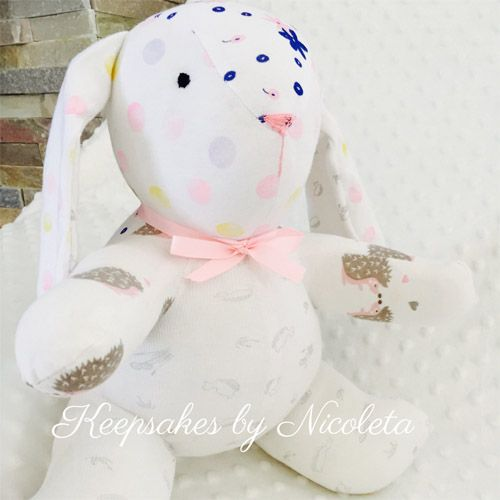 keepsake bunny made from baby onesies