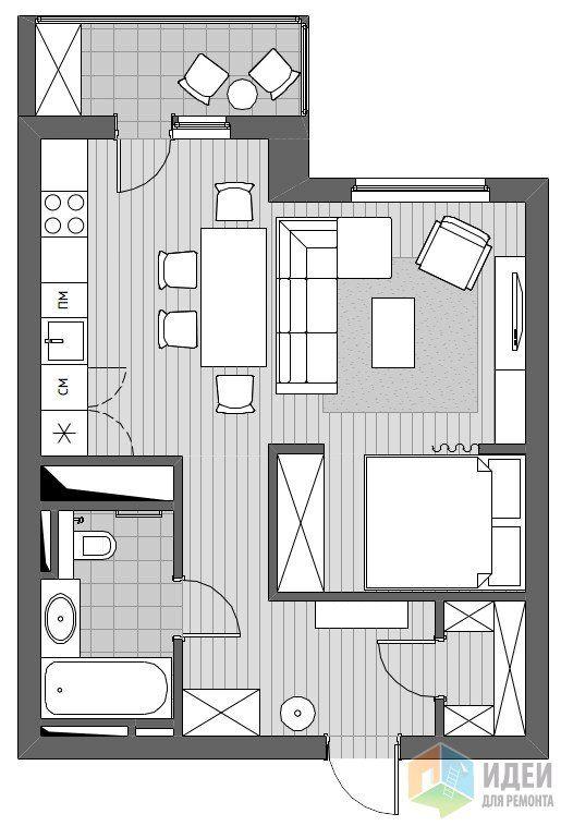 Квартира-студия. Это когда спишь на кухне! :)