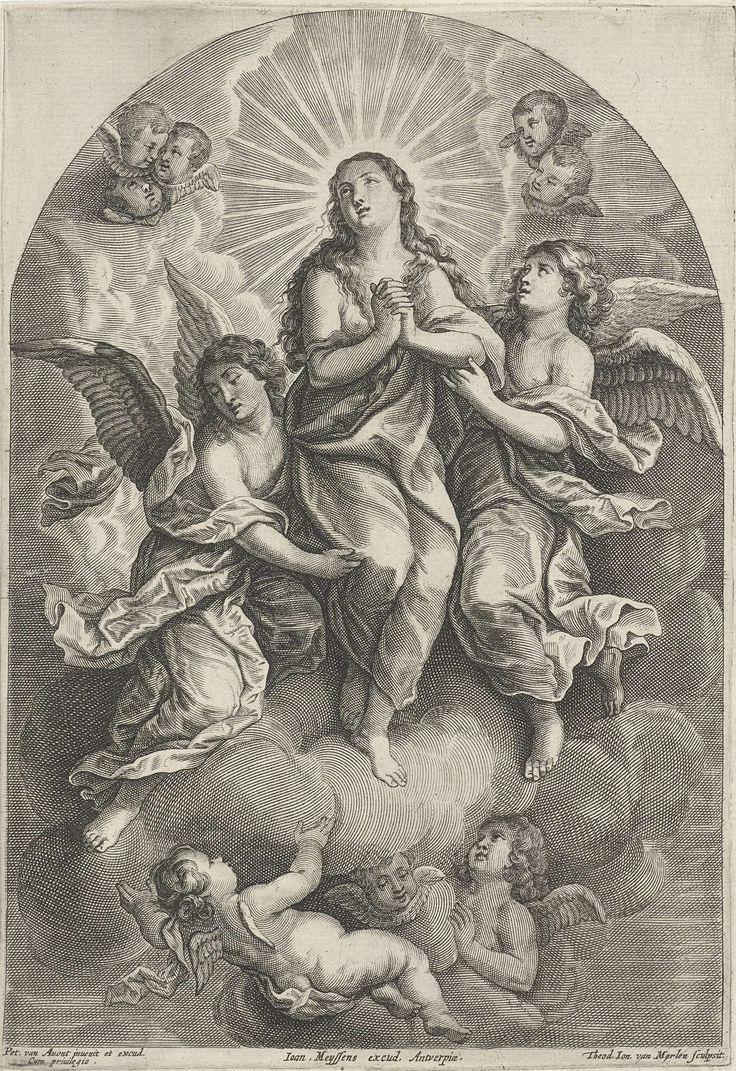 Theodor van Merlen (II) | Hemelvaart van Maria Magdalena, Theodor van Merlen (II), Joannes Meyssens, Pieter van Avont, 1652 - 1670 | De heilige Maria Magdalena wordt door twee engelen naar de hemel geleid. In de wolken cherubijnen.