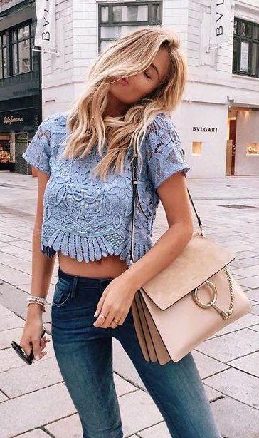 summer fashion embroidered lace crop top denim