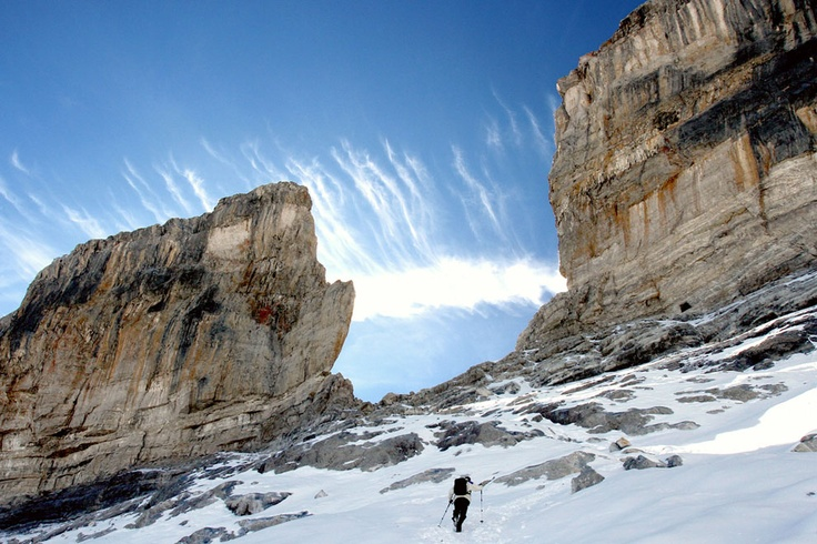 the Pyrenees. A Hiker walks along The breche de Roland, in the Cirque of Gavarnie in the French High Pyrenees region, on October 3, 2012. (Laurent Dard/AFP/Getty Images) #
