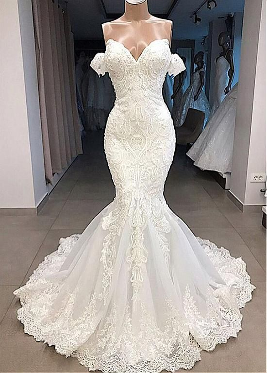 [285.50] Gorgeous Tulle Off-the-shoulder Neckline Mermaid Wedding Dresses With Beaded Lace Appliques