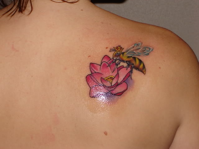 Bee and lotus flower tattoo tattoo time pinterest for Bee and flower tattoo