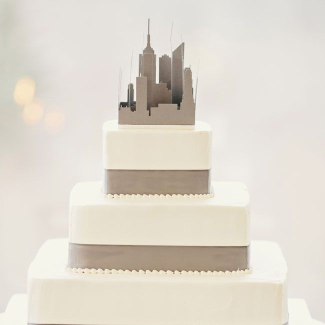 Contemporary city wedding cake | Clean Plate Pictures | Cake: Pastry Garden