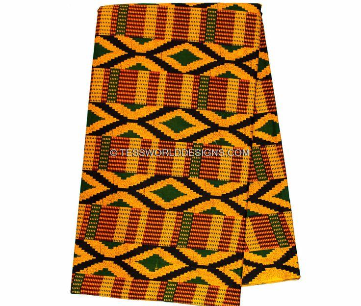 KF216 - Orange Diamond Kente Fabric, 6 Yards