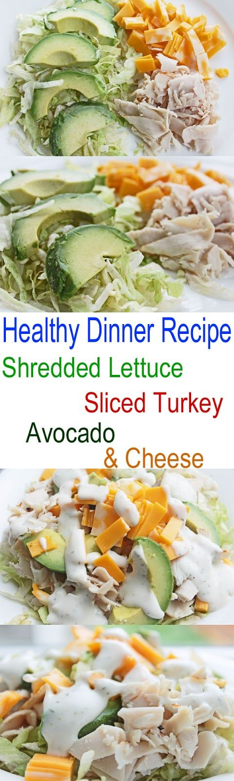 Healthy Dinner Recipe: Shredded Lettuce, Sliced Turkey, Avocado and Cheese Salad | Clean Eating Meal Plan | Easy and Cheap Healthy Meals | Weight Loss Meal Plan