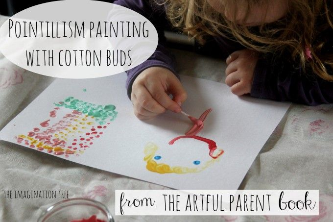 'The Very Last First Time' Pointillism painting with cotton buds from The Artful Parent