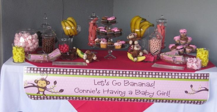 #Monkey Theme Candy Buffet Ideas: Candy Buffet, Baby Shower Ideas, Girls Monkey, Girlmonkeyparti Girlbabyshow, Girlbabyshow Monkeygirl, Ideas Girlmonkeyparti, Buffet Ideas, Monkey Girl, Girls Candy