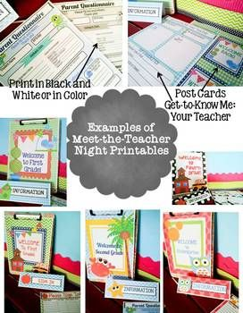 Checklists, Forms, and Power Points in many themes; editable in Power Point, for Meet the Teacher and Parent Orientations, $