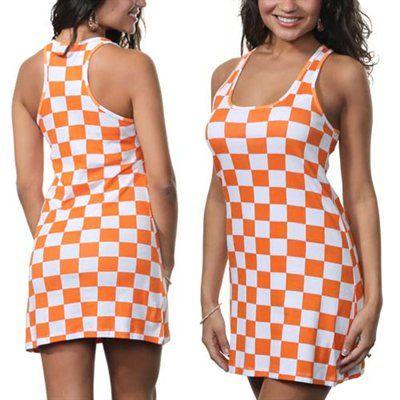 Tennessee Volunteers Ladies Checker Sundress - Tennessee Orange/White