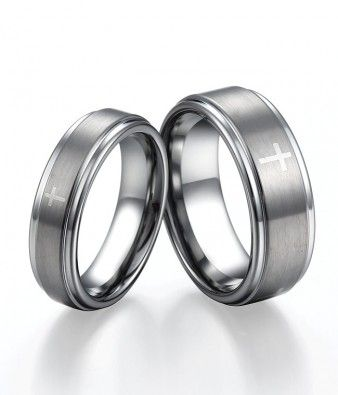Couple's Brushed  Tungsten Engagement Rings with Cross Design | Tungsten Carbide Rings 24HOUR SHIPPING