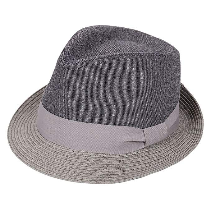 f32e907e99b Straw Fedora Hat Sun Trilby Unisex Summer Beach Hats Fashion Panama with Short  Brim for Men