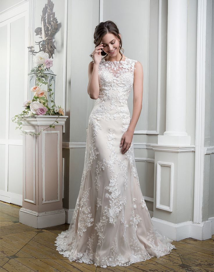 Embroidered lace, tulle and satin fit and flare adorned by a Sabrina neckline. https://www.lillianwest.com/lillian_west/6385