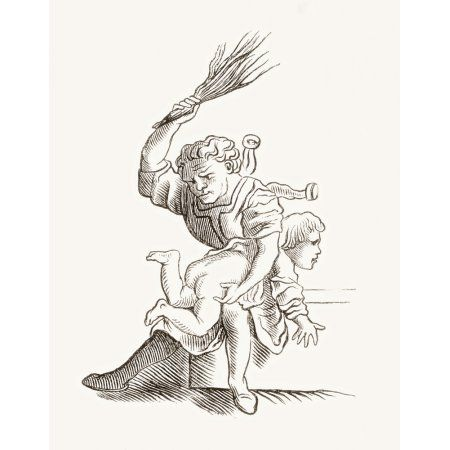 Drawing Of A Man Spanking A Child After Hans Holbein The Younger From Histoire Des Peintres -Cole Allemande Published 1875 Canvas Art - Ken Welsh Design Pics (12 x 16)