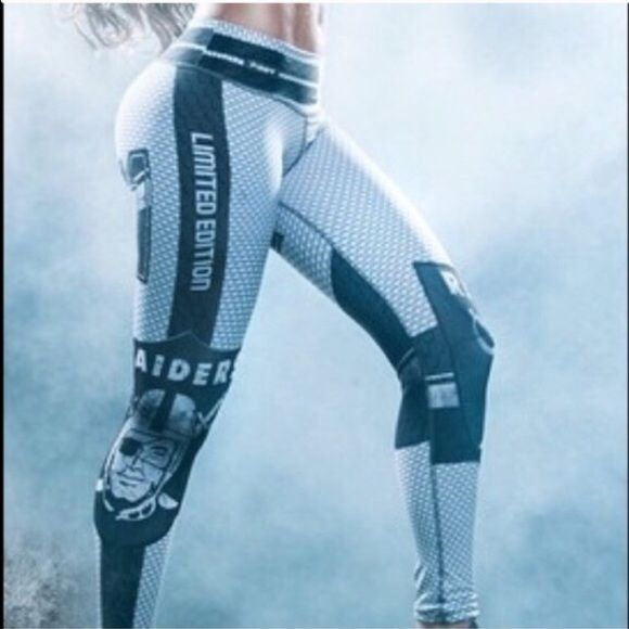 Oakland Raiders leggings  Oakland Raiders fans!  Come sport your favorite team! New, never worn. LIMITED EDITION. Stretchy. Size small-Medium Pants Leggings