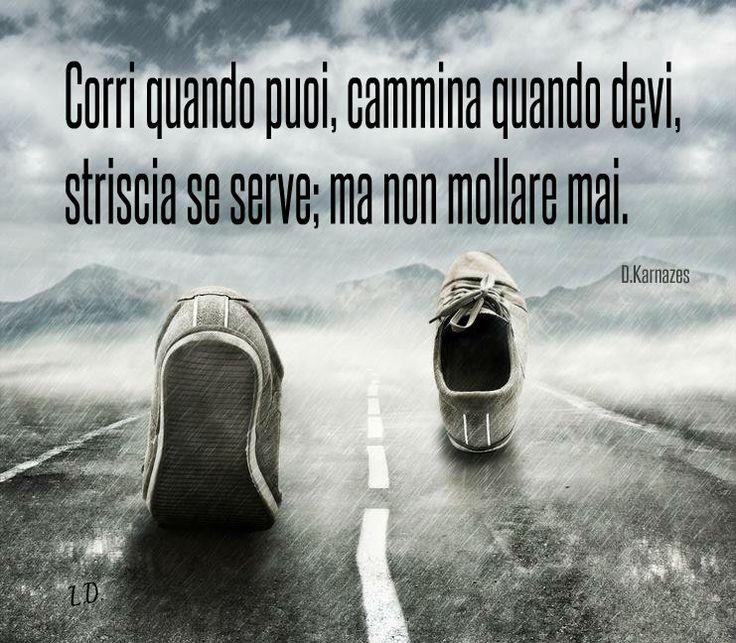 Corri quando puoi, cammina quando devi, striscia se serve; ma non mollare mai. -Dean Karnazes-