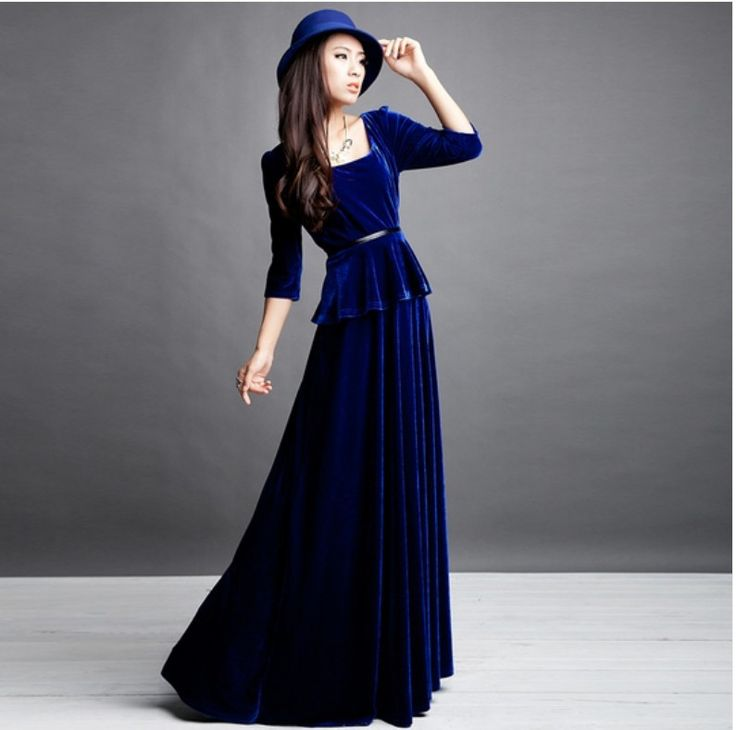 wonderful velvet evening  dresses for women (13)