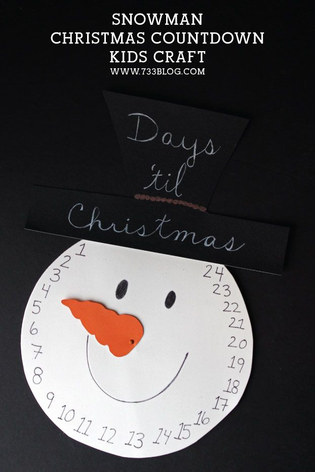 DIY Snowman Christmas Countdown Kids Craft - seven thirty three