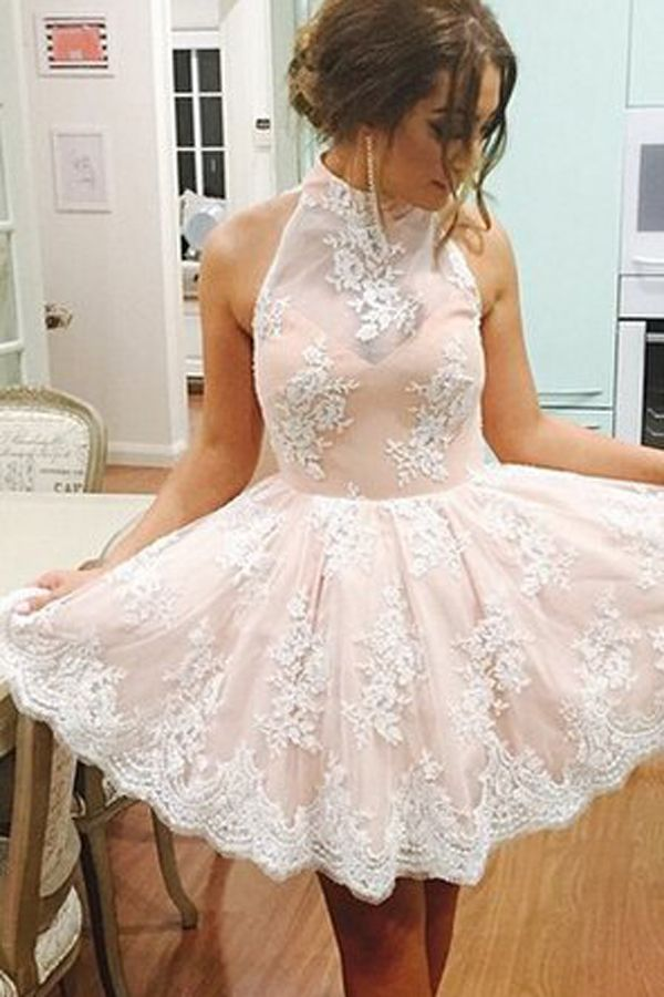 Elegant High Neck Sleeveless Short Illusion Back Champagne Homecoming Dress with White Lace