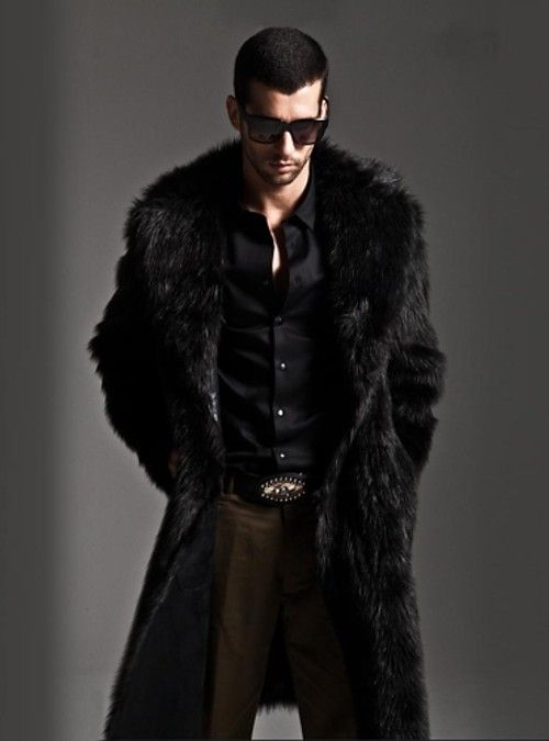 06335b6fa52 Men s Sophisticated Maxi Plus Size Faux Fur Coat - Solid Colored Notch  Lapel   Long Sleeve 2018 - US  51.97
