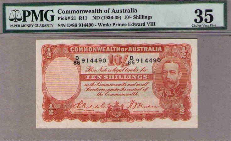 Australia R-11.(1936) 10 Shillings Riddle/Sheehan.. Geo V PMG 35 Choice Vry Fine