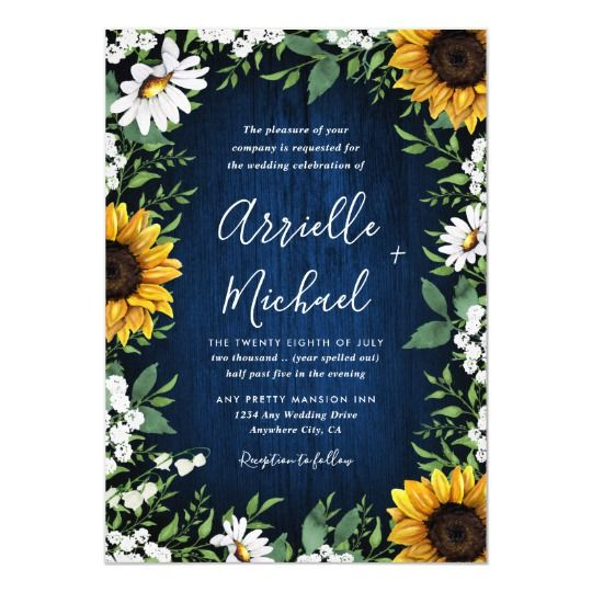 Navy Blue Sunflower Rustic Wedding Invitations Navy Blue Sunflower Rustic Wedding Invitations - feature a navy blue barn wood background decorated with watercolor daisies, sunflowers, greenery, baby's breath, and lily of the valley.