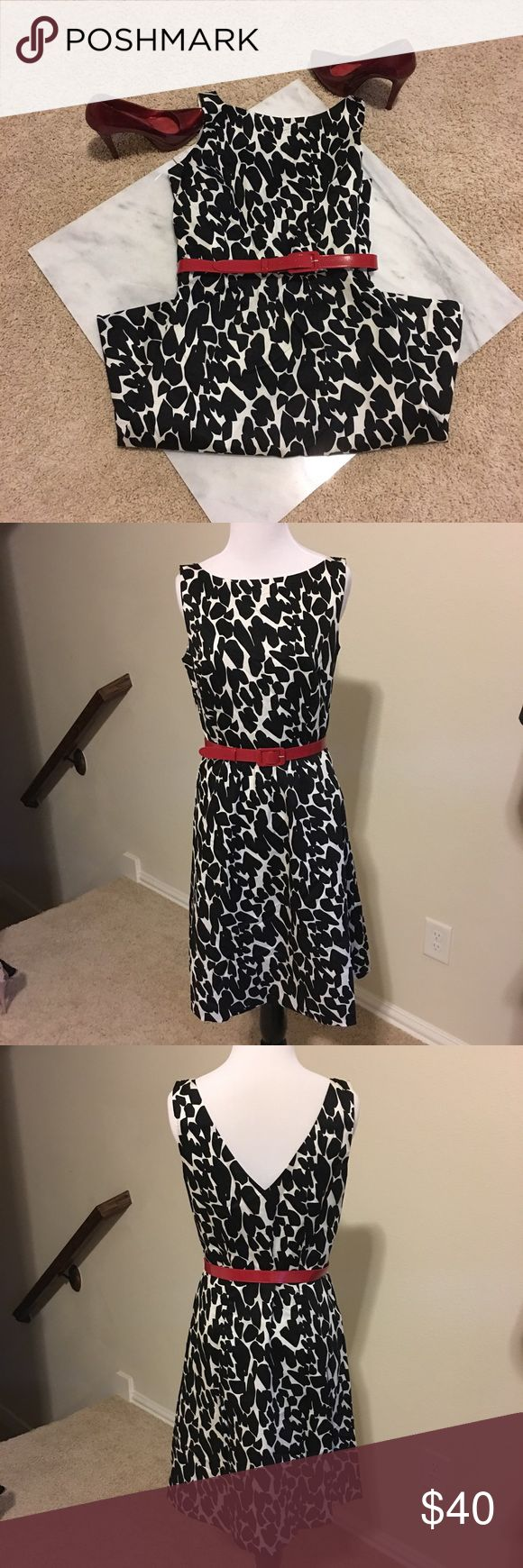 EUC Ann Taylor black & cream dress with red belt EUC Ann Taylor sleeveless dress. A beautiful black and cream dress with a sheen to it. Comes with the red belt. Pair with red shoes for a stunning look. Size 4. High neck with v neck in the back. Double lined and machine washable. A lovely dress for so many occasions! Comes from a smoke free home. Ann Taylor Dresses Midi